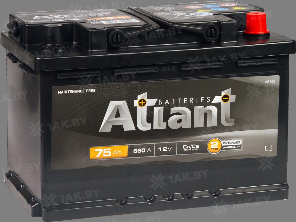 Аккумулятор ATLANT Black (75 A/h), 660A R+ складские остатки